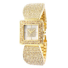 Alias Kim Square Gold Crystal Case Women Steel Bangle Bracelet Quartz Watch F149