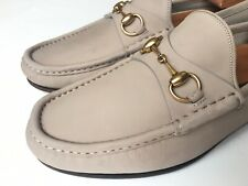 GUCCI 1953 Roos Horsebit Sand Nubuck Gold Bit Loafers Sz UK 9.5 (US 10) $700 *