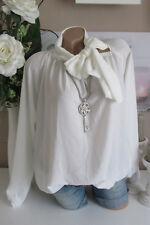 Mousseline de Soie Italie Blouse Tunique Ruban Vintage Bonnet Blanc 36 38 40