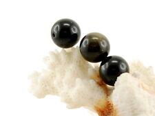 3x Obsidian - Kugeln 10 mm schwarz, seidig schimmernd, gebohrt /2779s