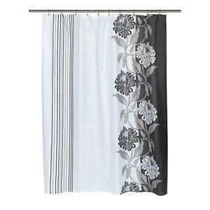 """Carnation Home """"Chelsea"""" Fabric Shower Curtain in Black Size 70""""x96"""""""
