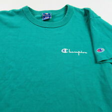 Vintage Champion T Shirt Single Stitch Spell Out Green Made in Usa Cotton Small