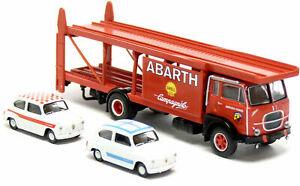 58479 Brekina camion Fiat 642 bisarca con 2 Fiat 600 Abarth 1962 scala 1:87