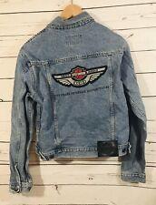 Harley Davidson HD Womens Denim Jean Jacket Sz M Medium Big Patch Biker Coat