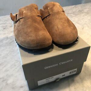 Officine Creative Brown Suede Slide Sandals Mules Size 40