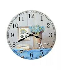 Nautical Decor Blue Hydrangea White Starfish Wooden Wall Clock 35cm