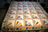 """Dresden Fan Blade Quilt Hand Quilted Multi Colors 72"""" x 84"""" Clean & Bright"""