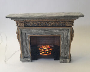 Dolls House Resin Fireplace With Light Up Fire