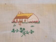 VINTAGE HAND EMBROIDERED COTTAGE HOUSE LINEN HANDKERCHIEF