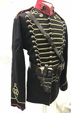SDL Men's Officers BlK/Jacket Wth Leather Cross Chest Belt & Holster 46 Inches L