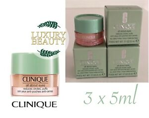 CLINIQUE All About Eyes Eye Cream 5ml x 3= 15ml RRP £29.00 new & boxed