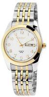 Akzent Herrenuhr Weiß Silber Gold Datum & Tag Edelstahl Armbanduhr X2800010003