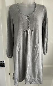 Fat Face UK 16 Grey Knitted Jumper Sweater Dress