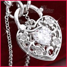 9K WHITE GOLD GF CZ CRYSTAL FILIGREE BELCHER CHAIN HEART PADLOCK BANGLE BRACELET