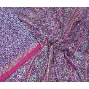Sanskriti Vintage Blue Sarees 100% Pure Silk Printed 5 Yard Sari Craft Fabric