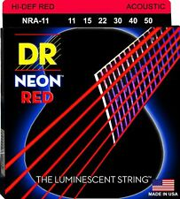 DR NRA-11 Neon RED Acoustic Guitar Strings 11-50