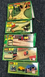 Vintage Brio LOT 33345 33346 33347 33348 33531 With Boxes Wooden Train Track
