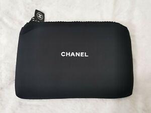 Chanel Makeup Cosmetic Neoprene Bag Beauty VIP Gift With Logo Zipper & Gift Box