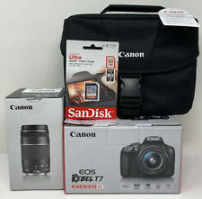 Canon Rebel T7 24MP DSLR Wi-Fi Camera w/18-55, 75-300mm Lens Bag SD Card ~ Black