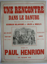 Plakat affiche Rencontre dans le Danube Opera Henrion Orig Lithografie 1890