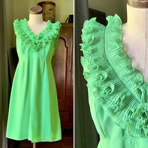LILLY PULITZER NWOT Green Ruffle Shift Dress SIZE 8 Spring Summer $219