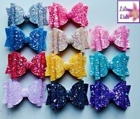"Handmade Glitter Hair Bows - Premium Large Sparkly Glitter - 3.5"" Clip Attached"