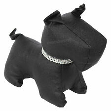 BLACK Faux Leather Fabric Dog Door Stop Weighted Stopper Novelty Animal Wedge