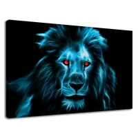 Neon blue fractal lion with red eyes digital art Canvas Wall Art Picture Print