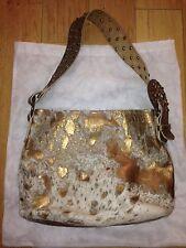 LeatherRock Metallic BRONZE GOLD Calf Hair Leather Swarovski Crystal Purse Bag