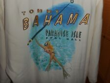 "Vintage Tommy Bahama ""Paradise Pool Hall Get a Cue"" White S/S 100% Silk Shirt XL"