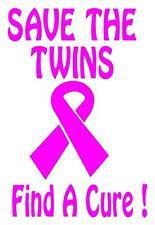 Breast Cancer-Save The Twins Find a Cure Vinyl Decal- Car Sticker 5 x 6.5 TH2
