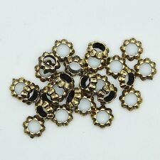 Floral Ring Washer Spacer Bead 7mm Metalized Large Hole Antiqued Gold  pk/25