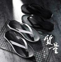 Mens Beach Casual Leather Sandals Fashion Thong Clip Toe Outdoor Summer Slippers