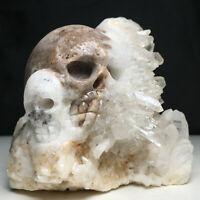446g Natural Crystal Cluster,Specimen Stone,Hand-Carved, The Skull .Healing