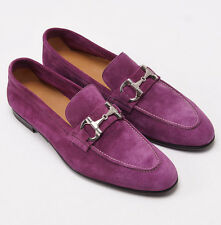 New $900 SUTOR MANTELLASSI Violet Purple Velour Suede Bit Loafer US 7 D Shoes