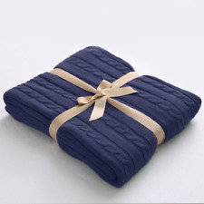 Soft Cable Knit Throw Blanket 100% Cotton 51 x 67 Blue