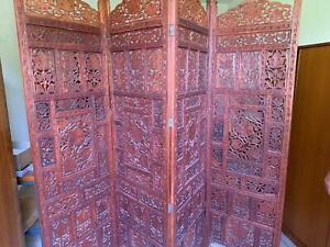 Paravent Raumteiler Trennwand, 4 Elemente, Holz geschnitzt