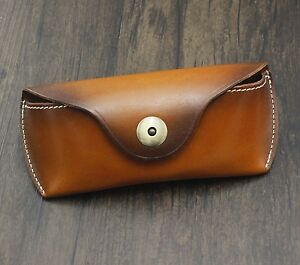 Real Cow Leather Handmade Glasses Pouch Vintage Sunglasses Belt Loop Case