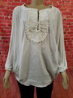 BCBG Maxazria White Oversized Cotton Blend Ruffled top Blouse Dolman Sleeves XS