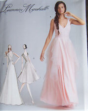 NEW pattern BRIDAL GOWN wedding dress 12-20 v-neck flowing overlay back detail