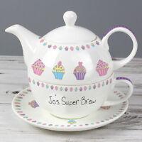 PERSONALISED CUPCAKES TEA FOR ONE TEAPOT, CUP & SAUCER SET - MUG TEA POT GIFT