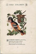 Elizabeth Gordon Bird Children: Baltimore Oriole. MT Ross 1912 lithograph print