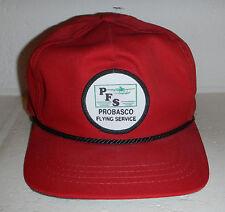 Vintage Red Probasco Flying Service PFS Strapback Baseball Hat Ball Cap