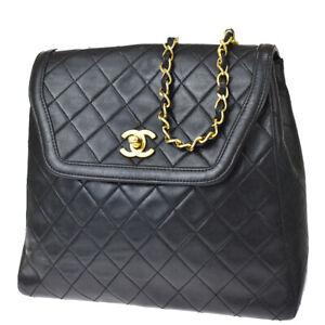 Authentic CHANEL CC Matelasse Chain Shoulder Bag Leather Black Vintage 629LB397