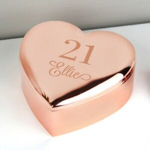 Personalised Age Rose Gold Heart Trinket Box Birthday 18th 21st 30th 40th Gift