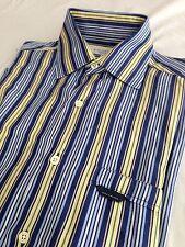 Alex Cannon Button Down Shirt Navy, Blue, Yellow & White Striped Size S