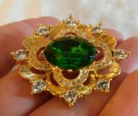 NAPIER EMERALD GREEN and CLEAR CRYSTAL RHINESTONE GOLD BROOCH PIN MINT!