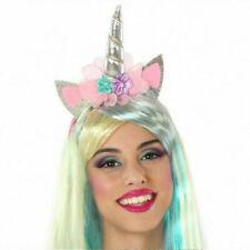 Accessori Carnevale Cerchietto Unicorno con Orecchie e Fiori Fantasy Donna Atosa