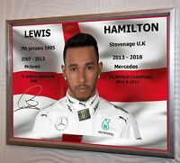 Lewis Hamilton Signed Silver Framed Canvas Print