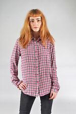 Vintage Rosa & Negro cuadros camisa de franela (M)